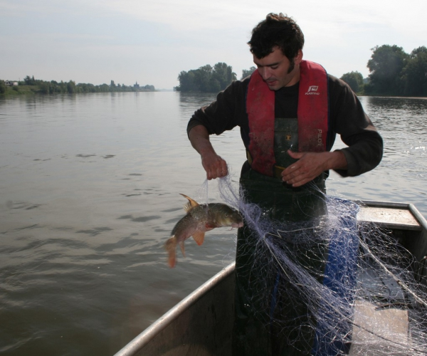 Nicolas prennant un poisson dans son filet